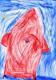 Weltraumrakete. die Zeichnung des Kindes Stockfotos