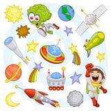 Weltraumset der Karikatur Stockfotos