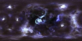 Weltraumsterne und -nebelfleck 360-Grad-Panorama Lizenzfreie Stockfotografie