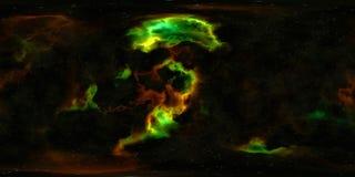 Weltraumsterne und -nebelfleck 360-Grad-Panorama Stockbilder