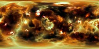 Weltraumsterne und -nebelfleck 360-Grad-Panorama Stockfoto