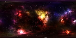Weltraumsterne und -nebelfleck 360-Grad-Panorama Stockfotos