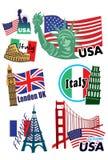 Weltreise-Ikonensatz Stockfotografie