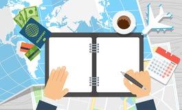 Weltreise-Notizbuchhände schreiben Lizenzfreie Stockfotografie