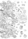Weltreise-Satz Hand gezeichneter einfacher Vektor skizziert Sammlung Populäre Symbole von Tourismus und von Reisen - Lizenzfreies Stockfoto