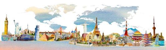 Weltreise und -anblick Berühmte Marksteine der Welt stock abbildung