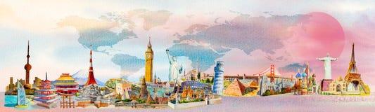 Weltreise und -anblick Berühmte Marksteine der Welt vektor abbildung