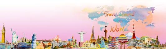 Weltreise und -anblick Berühmte Marksteine der Welt lizenzfreie abbildung