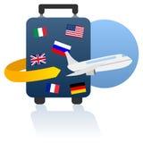Weltreise und Feiertags-Zeichen Stockfotografie