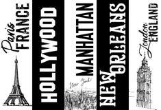 WELTreise UNTERZEICHNET PARIS FRANKREICH HOLLYWOOD MANHATTAN NEW ORLEANS LONDON stock abbildung