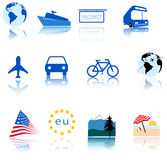 Weltreisen-Ikonen-Symbole Stockbild
