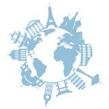 Weltreisengrenzsteine und -denkmäler Lizenzfreie Stockfotos