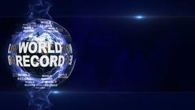 WELTREKORD Text und Erde, Wiedergabe, Grafik-Hintergrund Stockfotografie