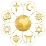 Weltreligions-Planeten-Erdgoldene Blume Stockbilder