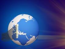 Weltseilzugtelekommunikation 3d CG stock abbildung
