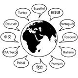 Weltsprache benennt Übersetzungs-Wörter auf Kugel Stockbild