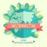 Weltumwelttagkonzept mit Mutter Erden-Kugel und -GRÜN verlässt auf beige Hintergrund Mit einer Aufschrift Stockfotos