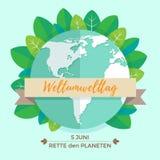 Weltumwelttagkonzept mit Mutter Erden-Kugel und -GRÜN verlässt auf tadellosem Hintergrund Mit einer Aufschrift auf Deutsch Stockfotos