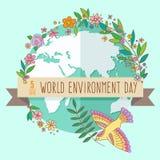 Weltumwelttagkonzept mit Mutter Erden-Kugel und Grünblätter und -blumen auf tadellosem Hintergrund Mit Stockfotografie