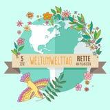 Weltumwelttagkonzept mit Mutter Erden-Kugel- und -GRÜNblättern Stockbilder