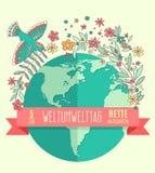 Weltumwelttagkonzept mit Mutter Erden-Kugel- und -GRÜNblättern Lizenzfreies Stockfoto