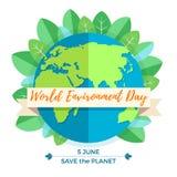 Weltumwelttagkonzept mit Mutter Erden-Kugel- und -GRÜNblättern Stockfotos