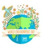 Weltumwelttagkonzept mit Mutter Erden-Kugel- und -GRÜNblättern Lizenzfreies Stockbild