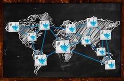 Weltvogel Verbindung auf Tafel stock abbildung