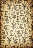 Weltwährungszeichen auf Retro- Weinlese-Papier. Stockbild