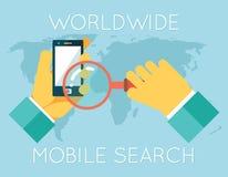 Weltweite bewegliche Suche übergibt das Telefon-Vergrößern Stockfotografie