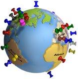 Weltweite Heftzwecken Europa USA Lizenzfreie Stockfotos