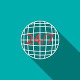 24 weltweite Service-Ikone der Stunde, flache Art Stockbilder