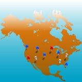 Weltweite Tacks_US Karte lizenzfreie abbildung