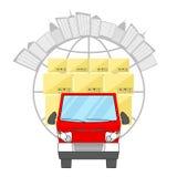 Weltweites Anlieferungs-Konzept Roter LKW mit Pappschachteln auf dem Hintergrund der Kugel Stockbilder