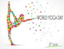 Weltyoga-Tagesvektorillustration, weißer Hintergrund Stockfotografie