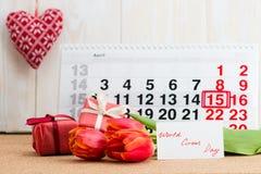 Weltzirkustag am 15. April auf Kalender Lizenzfreie Stockfotos