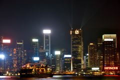 Welvaartnacht, de haven 2016 van Hongkong Victoria Royalty-vrije Stock Fotografie
