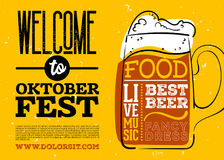 WelWelcome ao cartaz de Oktoberfest Fotografia de Stock Royalty Free