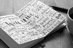 WELZIJN hand-van letters voorzien schetsnota's over notitieboekje met koffie en pen stock afbeelding