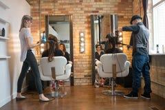 Weman Getting Hair Styled Stock Photos