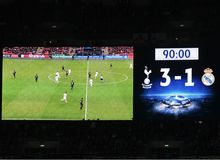 Wembley Scoreboard show final score Stock Image