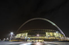 The Wembley stadium in London. The Wembley stadium at night in London Royalty Free Stock Photos