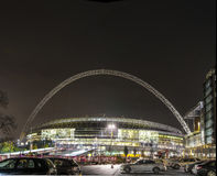 Wembley Stadium at night in London Stock Photo