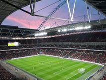 Wembley stadium sunset. A beutiful sunset disappearing over Wembley stadium during the spurs v Watford football match 2018 Royalty Free Stock Images