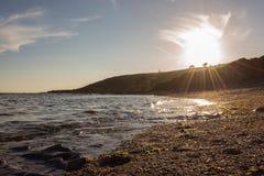 Wembury al tramonto fotografia stock libera da diritti