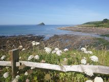 Wembury beach and Great Mewstone Devon stock images