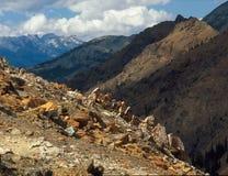 Wenatchee从铁峰顶山顶的范围山,高山湖,喀斯喀特山脉,华盛顿 免版税库存图片
