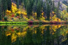 Wenatchee River Autumn, Washington State Stock Photography