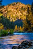 Wenatchee River Glow, Washington State. The reflective glow of a mountain in the Central Cascades reflects on the Wenatchee River in Tumwater Canyon of Royalty Free Stock Photography