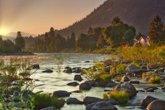 Sunrise over the Wenatchee River during summer fires in North Central Washington stock photography